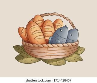 Five Loaves Two Fishes Bible Illustration