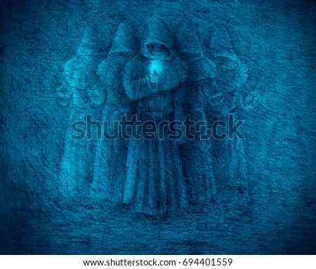 Five medieval monks with