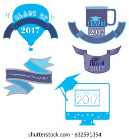 Five mnemonics on Class of 2017 in blue