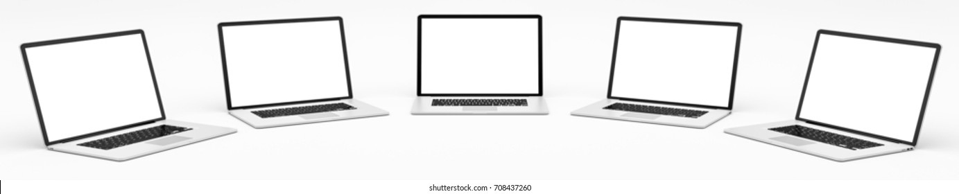 Five modern digital silver and black laptop on white background 3D rendering