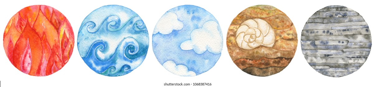 Five natural elements: fire, water, air, earth and metal. Watercolor illustration set.