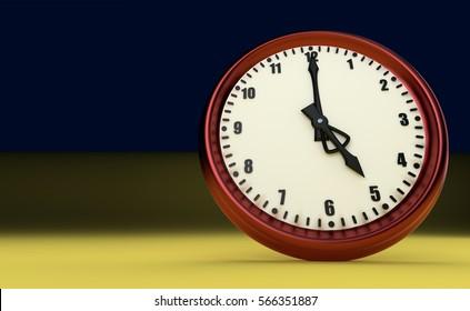 five o'clock big clock rush watch yellow background 3D illustration