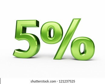 Five Percent green render (isolated and clipping path)