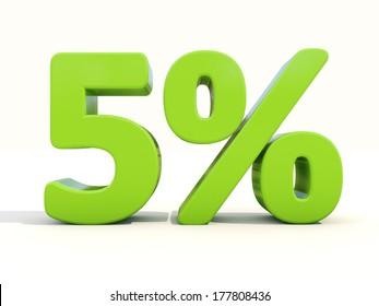 Five percent off. Discount 5%. 3D illustration.