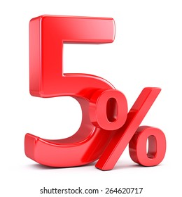 Five percent on white background