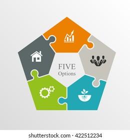 Similar Images, Stock Photos & Vectors of Five Piece Flat Puzzle ...