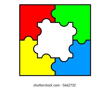Five pieces of puzzle connected