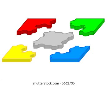 Five pieces of separated puzzle in 3d