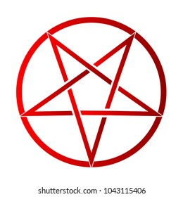 The five pointed pentagram over a white background