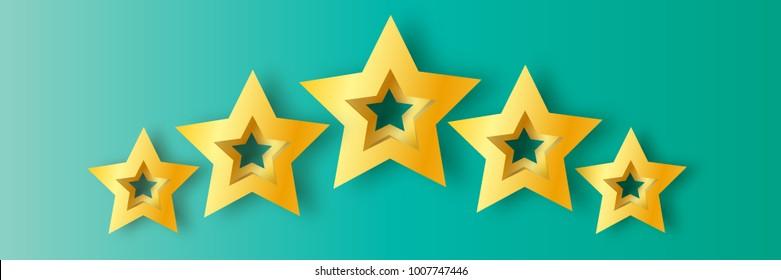 Five Realistic Origami 3D gold stars on a blue background. Award winner. 5 golden foil stars. Good job. Best reward. Choice. VIP. Premium class.