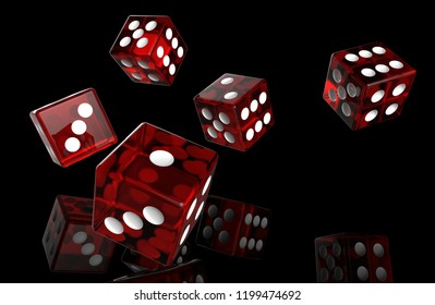 Five Red transparent dice rolls on black background with ground reflections. 3D rendering