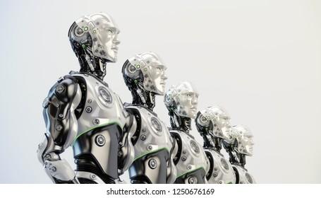 Five robotic man in line, 3d rendering