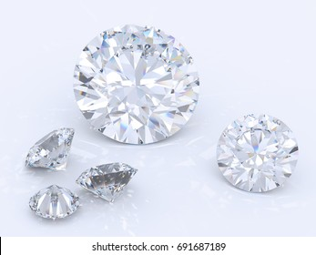 Five round brilliant cut diamonds laying on bluish-white background. Close-up high-key view, various sizes and angles. 3D rendering illustration.
