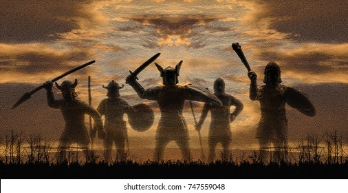Five silhouettes of giant celestial norse gods-warriors Vikings from Valhalla against sunset sky and horizon with a line of trees, mosaic effect, panorama, creative illustration
