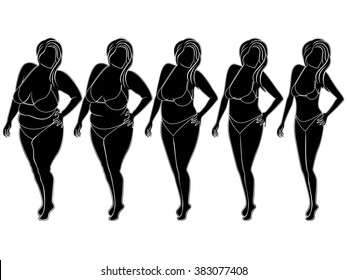 Five stages of abstract woman on the way to lose weight, black and white silhouettes isolated on white background