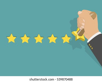 Five star rating isometric low poly illustration. Man's hand printed five stars by the hand stamp. Customer feedback, vote, award.