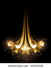 Five stars glittering gold on black background.