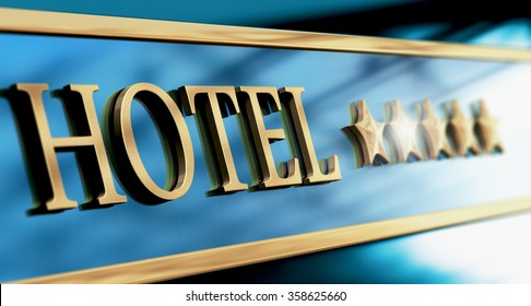 Five stars hotel sign written with golden letters over blue background. Horizontal image suitable for header