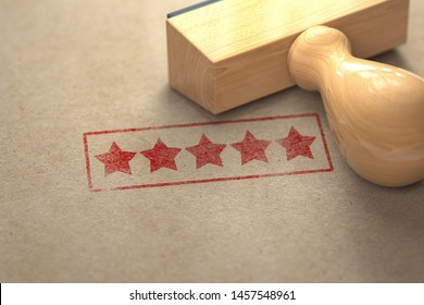 Five stars printed on craft paper with stamp. Rating, best choice, customer experience and high quality level concept.
