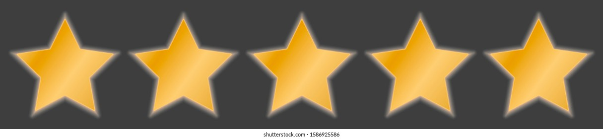 Five stars in a row. Gold gradient fill. Isolated on a gray background