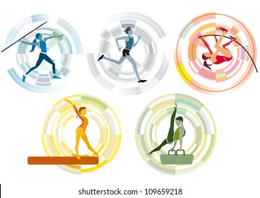 five stylized figures of  men and women athletes practicing various olympic games sports disciplines, with a circular background.