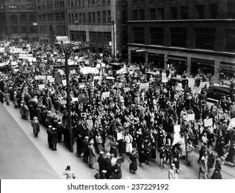 Five thousand school teachers demonstrate in downtown Chicago In the Great Depression they worked for months without pay.