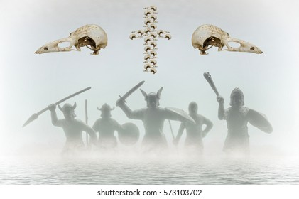 Five Viking figures walking in foggy water. Two crow skulls and a cross made of bird skulls, hanging over them. Creative work on Norse myths theme