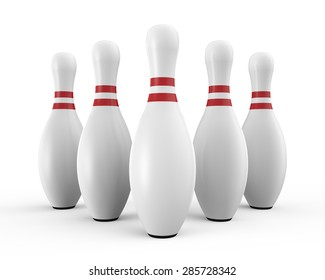 Five white bowling pins