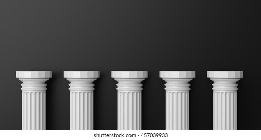 Five white marble pillars on black background. 3d illustration