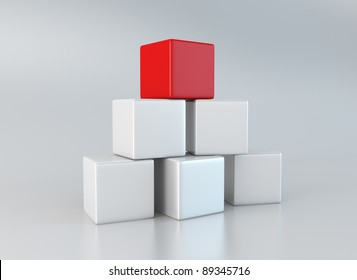Five white and one red cubes stacked up on gray, reflective background.