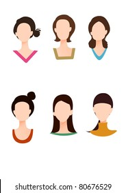 Five Woman's Face Shapes Set of characters of yellow emoticons