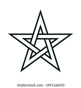 Five-pointed star. Pentagram the seal of Solomon. Abstract concept, icon.