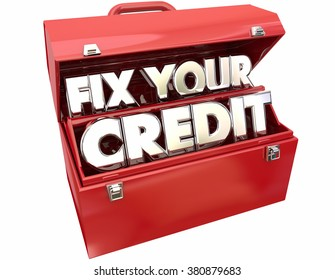 Fix Your Credit Score Rating Repair Improvement Red Toolbox 3d Words