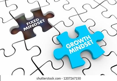 Fixed Vs Growth Mindset Puzzle Pieces 3d Illustration