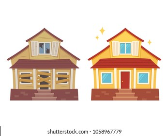 Fixer upper home renovation before and after. Old run-down house remodeled into cute traditional suburban cottage. Isolated illustration, flat cartoon style.