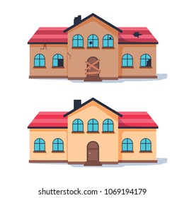 Fixer upper home renovation before and after. Old run-down house remodeled into cute traditional suburban cottage. Isolated illustration, flat cartoon style. Broken Architecture reconstruction