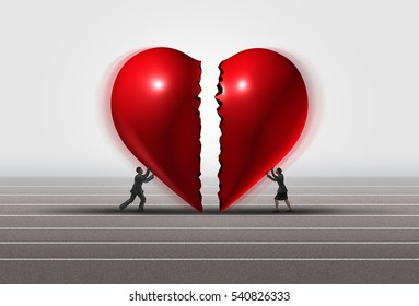 Fixing a relationship concept as a man and woman pushing a broken heart together as a romantic couple repairing their love with 3D illustration elements.