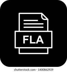 FLA File Document Icon In Trendy Style Isolated Background