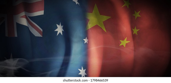 Flag 3D Rendering on Economic and Cooperation between Australia and China.