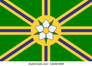 Flag of Abbotsford is a city located in British Columbia, adjacent to the Canada–United States border, Greater Vancouver and the Fraser River. 3d illustration