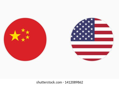 Flag of America and China in the form of a rectangle on a white background.