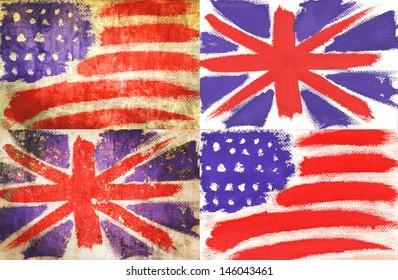 flag America Great Britain vintage retro style background