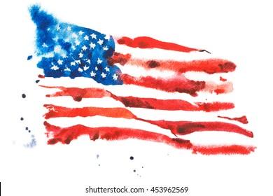 Flag of America, hand drawn watercolor illustration