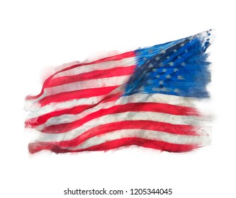 Flag of America watercolor on white background