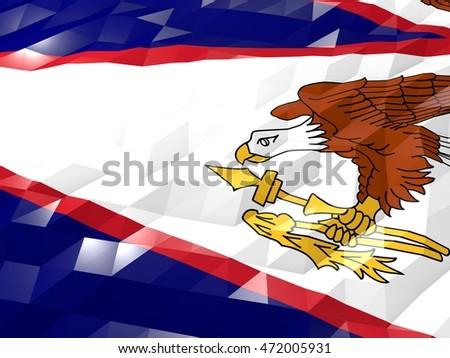 Flag Of American Samoa 3D Wallpaper Illustration National Symbol Low Polygonal Glossy Origami Style