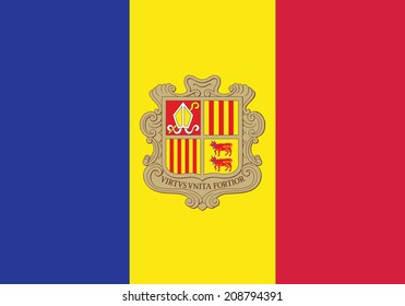Flag of Andorra. Accurate dimensions, element proportions and colors.