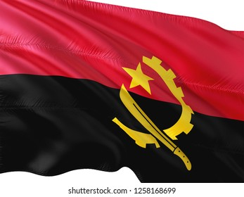 Flag of Angola waving in the wind, isolated white background.