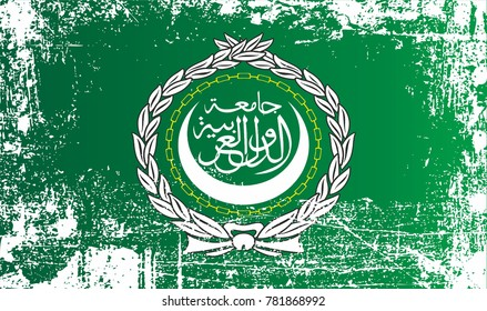 Flag of the Arab League. League of Arab States. Wrinkled dirty spots. Can be used for design, stickers, souvenirs.