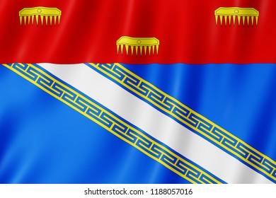 Flag of Ardennes, France. 3d illustration of Ardennes flag waving.