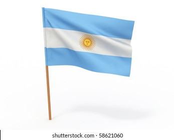Flag of argentina . 3d
